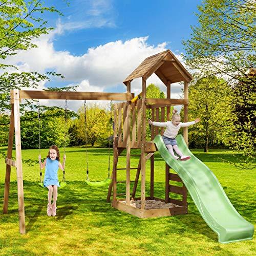Spielturm Adventure Klettergerüst Schaukel Rutsche Sandkasten Maße H266cm x B274cm x T357cm Holz...