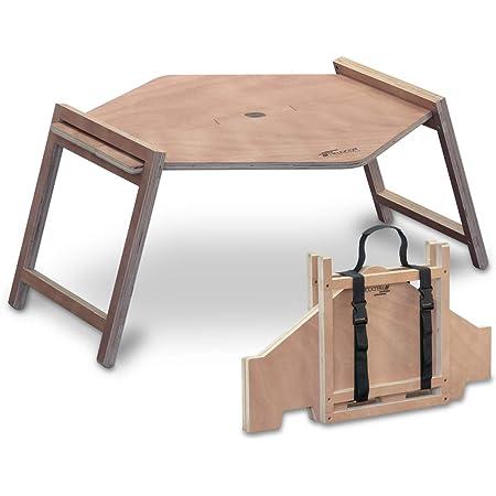 FIELDOOR パネル式 木製ワンポールテント用テーブル 簡単設置 ウッド ヘキサ ローテーブル キャンプ アウトドア