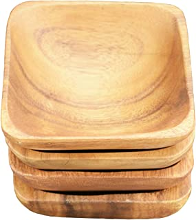 "Pacific Merchants Trading Acaciaware Square Sauce Bowls, 4"" x 4"" x 1.5"", Set of 4"