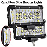 Moso LED LED Pods, 5 inch Dually Sided Side Shooter Quad Row LED Fog Lights LED Spot Flood Combo Light Bar Waterproof Off Road Light LED Work Light for Truck UTV ATVs SUV Boat, 3 Years Warranty