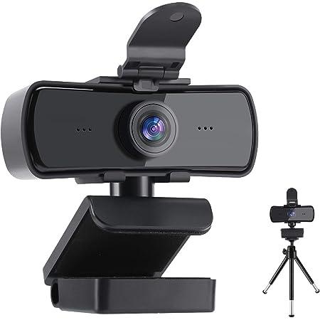 FEIMUOSI Webcam con Microfono, Webcam Streaming 2K HD con Copertura per la Privacy e treppiede Plug And Play USB per PC Laptop per videochiamate Registrazione Conferenze Supporta i Giochi