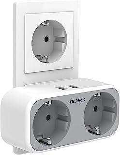 TESSAN USB Stopcontact, Stekkerdoos dubbel, 2 Stopcontacten met 2 USB Poorten, 4 in 1 Stekkeradapter met USB Oplader, Dubb...