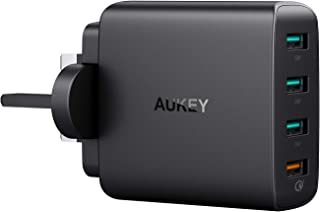 AUKEY Quick Charge 3.0 USB Wall Charger 4 Ports 42W Travel Charger, Compatible Samsung Galaxy S9 / S10+ / Note 10, LG G5 /...