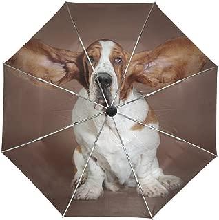 ALAZA Basset Hound Dog Flying Ears Travel Umbrella Auto Open Close UV Protection Windproof
