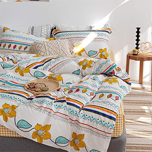 Poulbee Leaf and Wave Print Bed Linen Set Soft Cotton Duvet Cover 135 x 200 cm and Pillowcase 80 x 80 cm, White, 220 x 240 cm