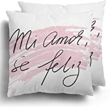 Throw Pillow Cover 2 Pack Spanish Phrase Love Valentines Day My Mi Amor Se Feliz in Be Happy Black Text on Each Word is Separate Cushion Case for Couch Bed Home Decor 18 x 18 Inches