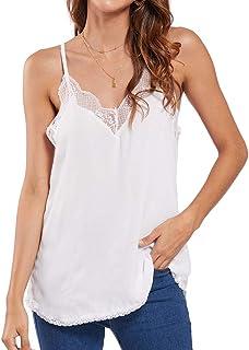 HenzWorld T-Shirt da Donna Elasticizzata con Canotta in Maglia a Costine in Tinta Unita