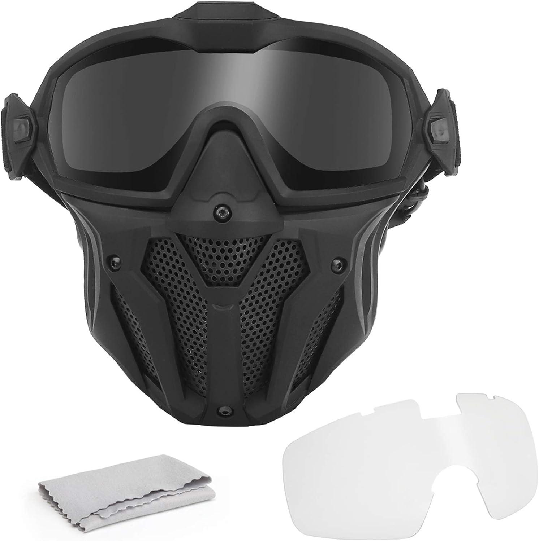 WISEONUS Máscara de Calavera Táctica de Airsoft Caza CS Juego de Guerra Paintball Protector Engranaje Mascarillas Cara Completa con Versión Ventilador Gafas Refrigeradoras