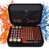 Balaperi Hard Battery Organizer Storage Box,Fireproof Waterproof Explosionproof Carrying Case Holder Bag,Holds 200+ Batteries AA AAA C D 9V,with Battery Tester BT-168 (Not Includes Batteries)