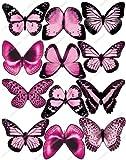 12 x Cakeshop PRECORTADAS decoración para pasteles comestibles en forma de Mariposas de color Rosa claro