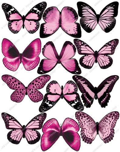 Cakeshop 12 x Vorgeschnittene Hellrosa Essbare Schmetterlingskuchen Topper (Tortenaufleger, Bedruckte Oblaten, Oblatenaufleger)