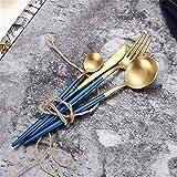 Jsx Posate di lusso in Acciaio inossidabile 304, posate da 4 pezzi, Incluso un Set di cucchiai per coltelli da forchetta (Nero e dorato),Azul