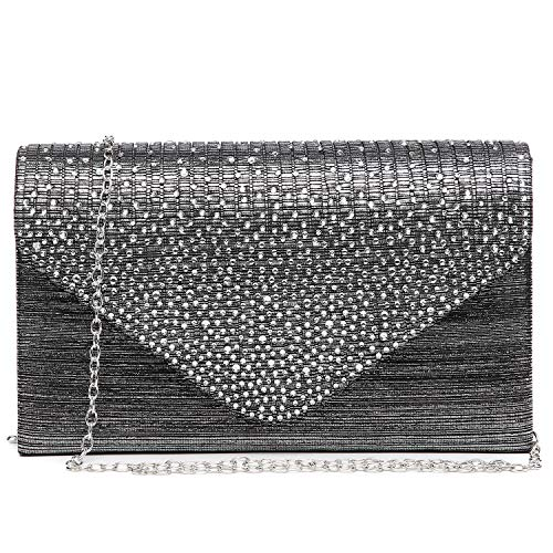 Dasein Ladies Frosted Satin Evening Clutch Purse Bag Crossbody Handbags Party Prom Wedding Envelope (Grey)