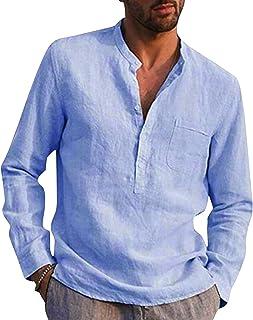 Beach Tops الرجال القمصان عارضة موقف طوق القميص الصلبة تي شيرت للرجال قمصان طويلة الأكمام قمصان الصيف (Color : C, Size : M)