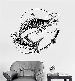 zdcvdv Wall Quotes Decal Wall Stickers Art Decor Fishing Rod Fish Fisherman Club Hobbies