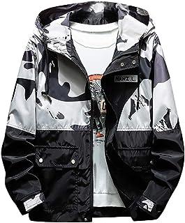 LOPILY Mens Camouflage Print Stitching Hooded Windbreaker Autumn Streetwear Style Jacket Coat Wind Resistant Drawstring Ja...