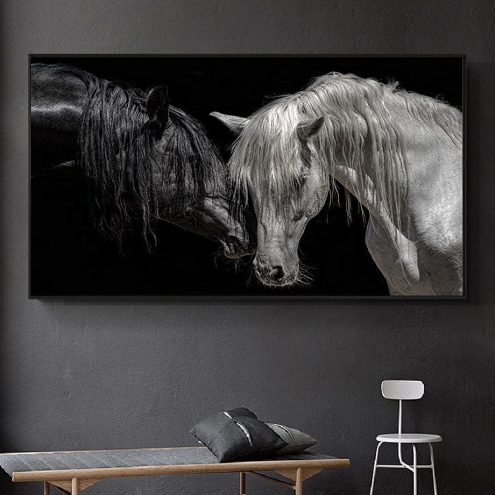 Mural 1 Piezas Pintura En Lienzo,1 Piezas Cuadros En Lienzos África Pareja Animales Caballo Blanco Negro Modular Moderna 1 Piezas,Mural Pared Salon 3D,Decorativo Pared,Listo Para Colgar,Gift Xxl
