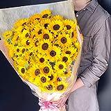 [ビズフラワー]【花束 ヒマワリ 100本】 向日葵 誕生日 記念日 昇進 転居 開店祝い 感謝 ギフト