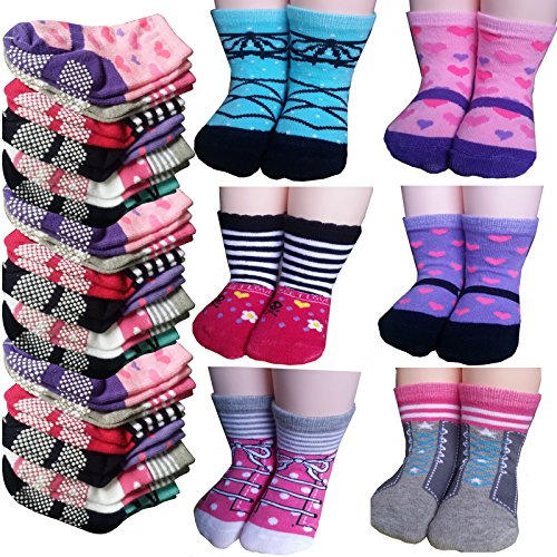 6 Pairs 12-24 Months Baby Girl Toddler Socks Anti Slip Cotton Socks Slippers