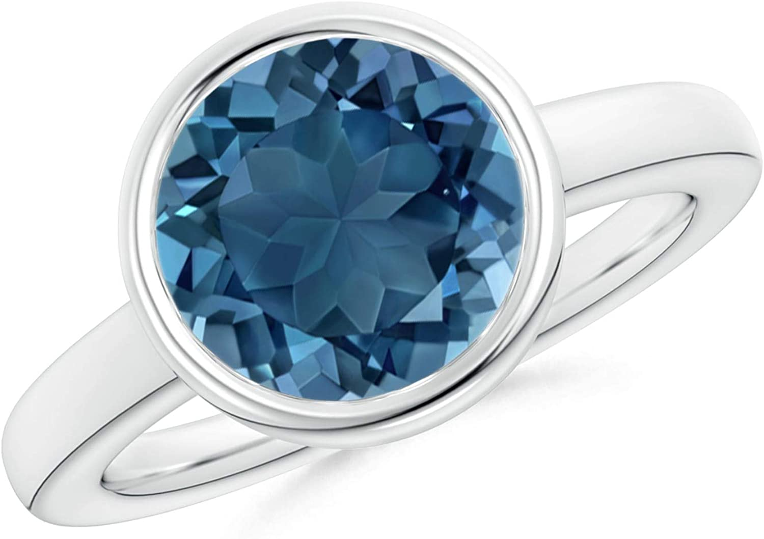 4 MM Round Bezel Set Blue Topaz Stone 925 Sterling Silver Solitaire Women Ring