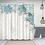 ZUL Wasserdichter Duschvorhang,abstrakte Blaue Schneeflocken 3D Wirkung auf,Drucken von Badvorhängen mit 12 Haken 150x180cm