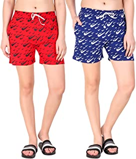 Kiba Retail Casual Wear Cotton Check/Printed Shorts for Women's and Girl's Pack of 2 (Size-26, 28, 30, 32, 34) Color-Multicolor