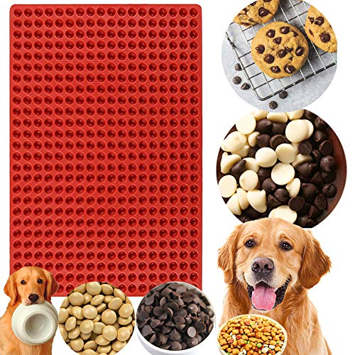 JeVenis 468 Cavity Chocolate Drops Molds Chocolate Chips Mold Pet Treats Mold Silicone Grill Mat Gummy Candy Molds for Jelly Cookies Caramels Baking