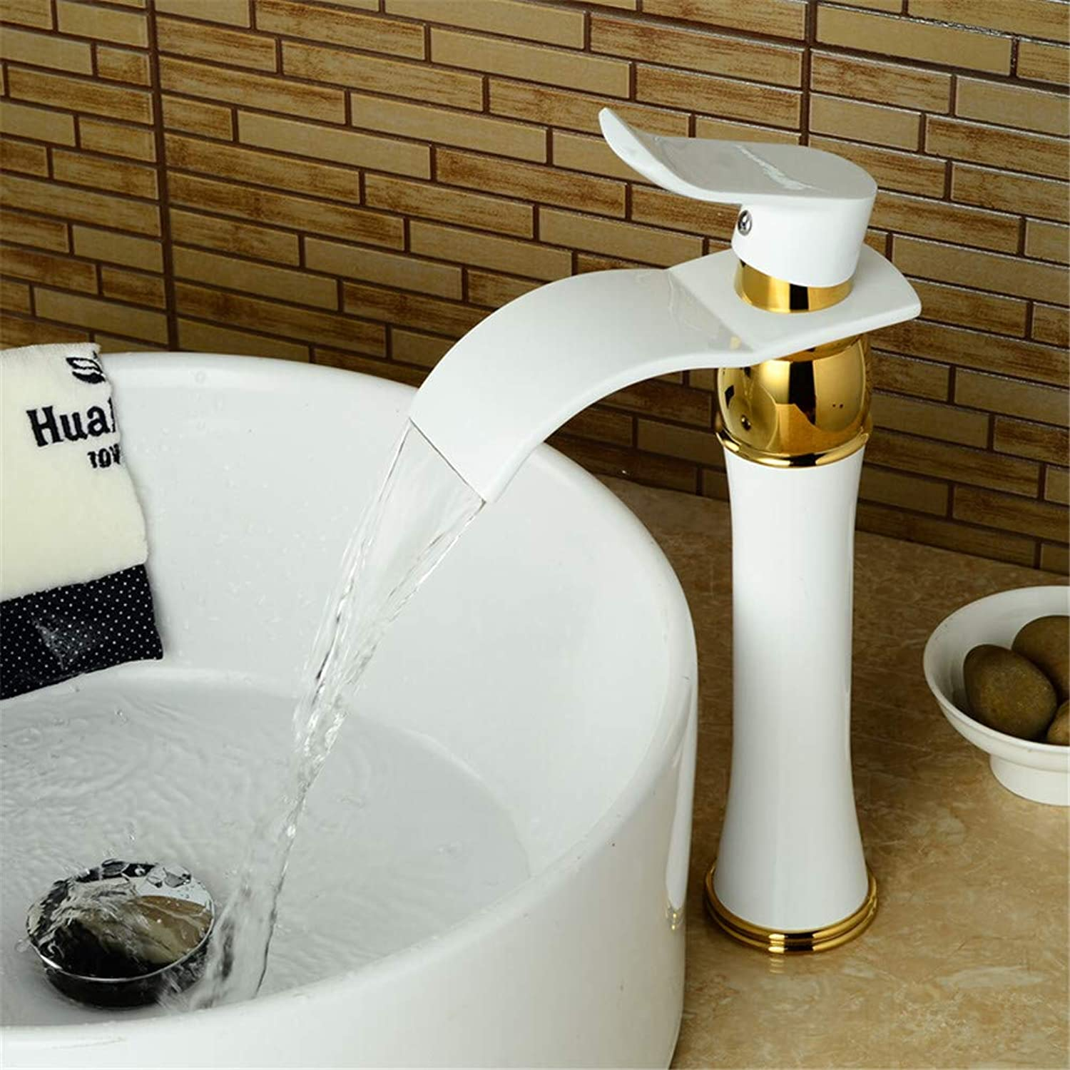 YAWEDA Tall golden Polished Basin Faucet Swivel Sink Mixer Tap Basin Faucet Finish Round Base White Paint Bathroom Sink Faucet