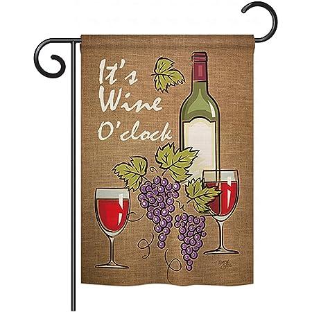 Breeze Decor G167033 Happy Hour Drinks Wine Double Side Decorative Garden Flag 13 X 18 5 Multicolor Garden Outdoor