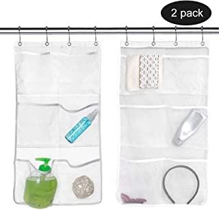 2 Pack Mesh Shower Organizer Hanging Mesh Pockets Bathroom Caddy 6 Pockets Hang Curtain Rod with 4 Rings, Shampoo Shower Organizer, Quick Dry, Space Saving