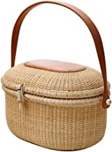 SWZJJ Wicker Willow Picnic Basket Shopping Vintage Basket With Lid and for Camping for Shopping