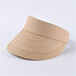 QinMei Zhou Summer Empty top hat Female Fashion Hipsters Wild Lafite Straw hat Beach Holiday Travel hat (Color : Beige)