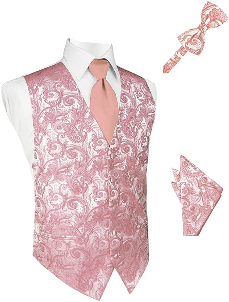 Coral Tapestry Satin Tuxedo Vest with Long Tie Bowtie and Pocket Square Set