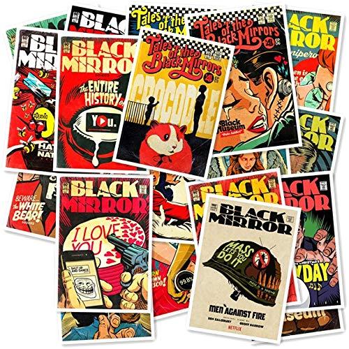 Zwarte Spiegel Stickers Reiskoffer Wandgitaar Fiets Telefoon Schuifplaat Graffiti Styling Waterdichte Stickers 20/pcs