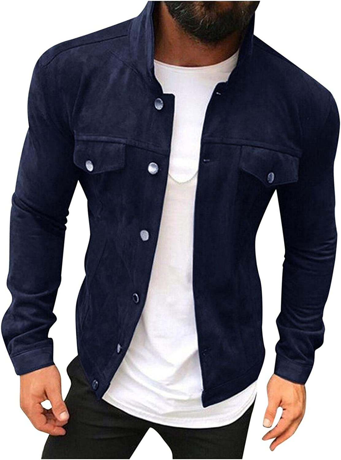 Mens Casual Stylish Button Down Jacket Shirts Lightweight Slim Fit Outerwear Big & Tall Fashion Winter Trench Coat