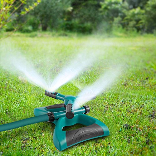 BAIHUO Lawn Sprinkler, Automatic 360 Rotating Garden Sprinklers Lawn Irrigation System Covering Large Area with Leak Free Design & Easy Hose Connection