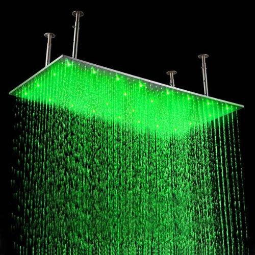 Fuloon 50,8x 99,1cm enorme rubinetto da bagno in acciaio INOX soffione doccia con luce LED cambia colore blu verde rosso