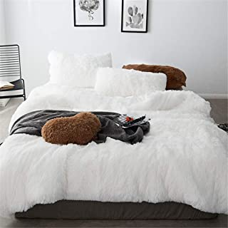 MooWoo 4 PCS Luxury Shaggy Plush Bedding Sets, 1 Fluffy Faux Fur Duvet Cover + 1 Velvet Bed Flat Sheet + 2 Furry Pillow Shams, Zipper Closure, 4 PCS (White, Queen)