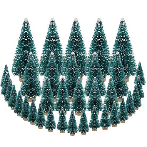 DECARETA 35 PCS Miniature Christmas Tree Artificial Snow Frost Trees Pine Trees Sisal Trees Tabletop Trees Green Sisal Trees for Christmas DIY Craft Party Decoration (4 Size)