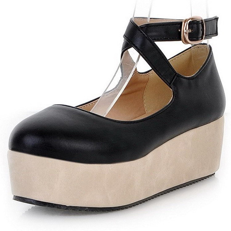 WeenFashion Women's Pu Kitten Heels Round Closed Toe Solid Buckle Pumps shoes