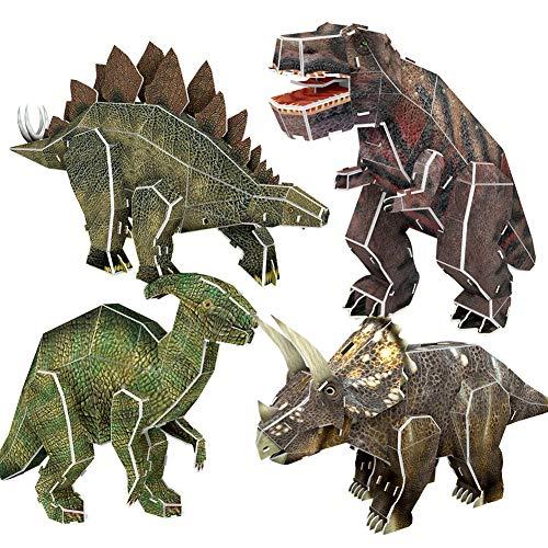 Dinosaurio Puzzles 3D 4 Piezas para niños, DIY Tirano saurio Rex Parasaurolophus Estegosaurio Triceratops Modelo Dino Juguete de Rompecabezas de Papel Educativo Regalo de cumpleaños para niños niñas