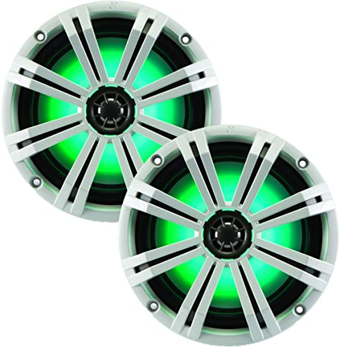 """discount Kicker KM8 8-INCH (200mm) Marine Coaxial Speakerswith 1"""" online sale tweeters,LED online Charcoal and White Grilles,4-OHM online sale"""