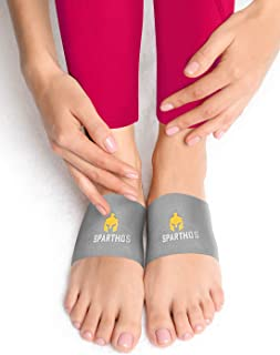Sparthos Plantar Fasciitis Support - Arch Compression Brace - Foot Feet Brace, Ankle Pain Relief, Night Splint - Shoe Boot Sandals Insert Inserts Insoles - Mens and Womens (Gray-L)