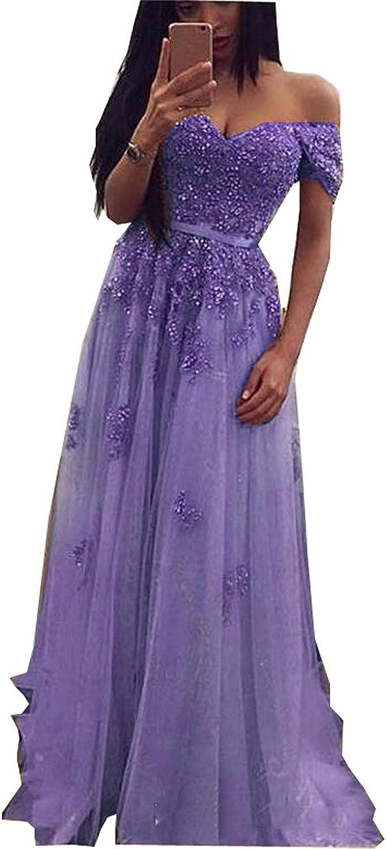 Ellystar Women's Sequins Beading Off Shoulder Tulle Luxury Zipper Prom Dresses