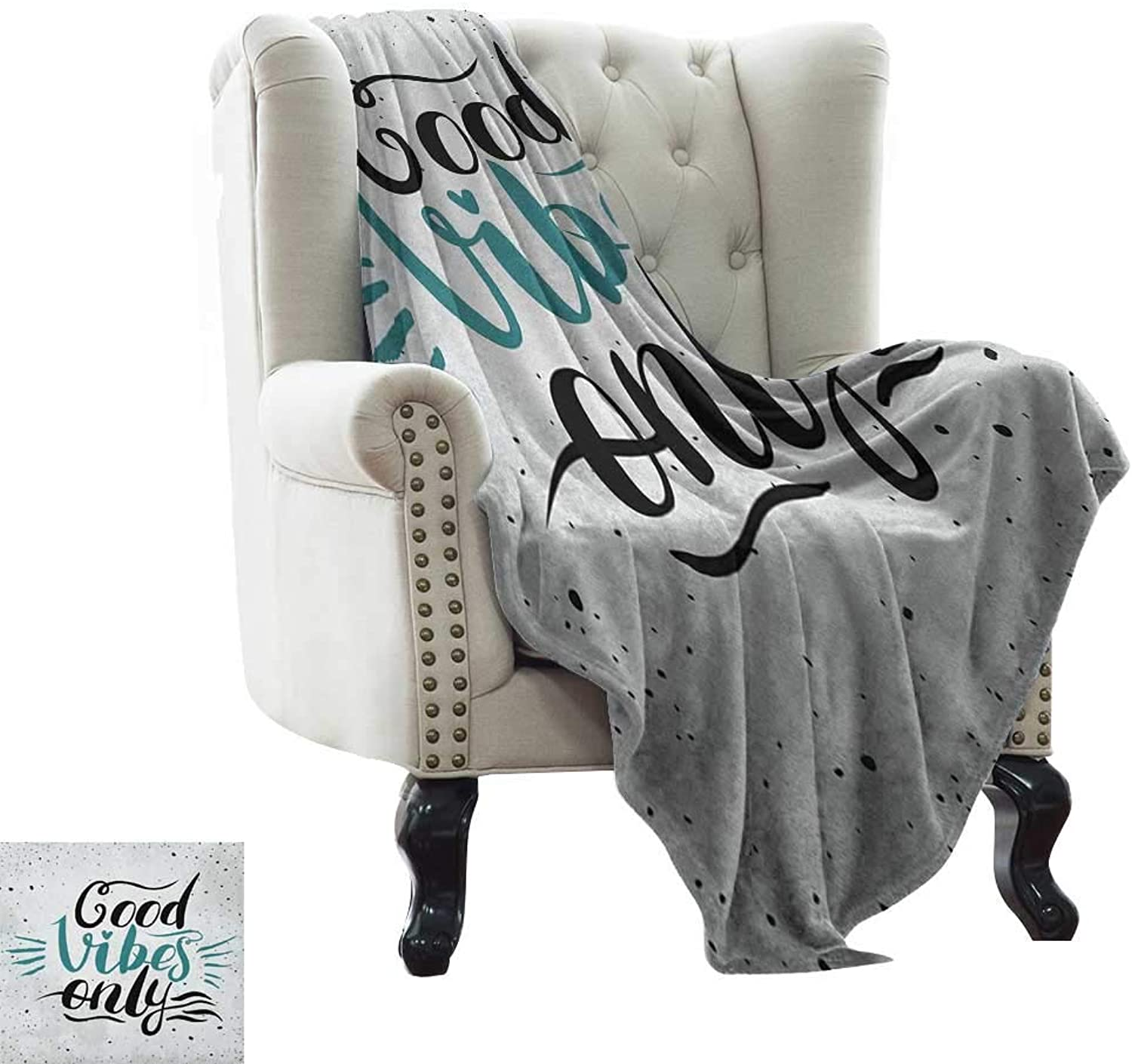 Weighted Blanket for Kids Good Vibes,Stylized Hand Letters Calligraphy Dots Wavy Lines and Little Heart Modern, Teal Black Beige for Bed & Couch Sofa Easy Care 50 x60