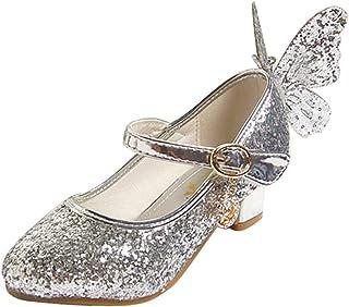 LSHEL Filles Chaussures Paillettes Princesse Talons Hauts Chaussures Enfants Chaussures de Danse avec Papillon