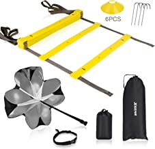 XGEAR Speed Agility Training Set - Adjustable Rungs Agility Ladder, Resistance Parachute, 4 Steel Stakes, 6 Disc Cones - Kit for Soccer, Lacrosse, Hockey, Basketball Drill