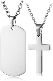 Aienid Stainless Steel Cross Pendant Chain Necklace for Men Women