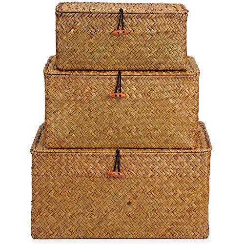 PetKids Aufbewahrungskorb mit Deckel 3 Stück handgeflochtener Seegras Körbe Korb Aufbewahrung rund geflochten nachhaltig aus Seegras, S, M und L