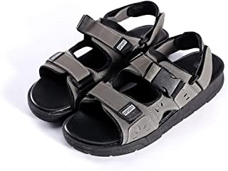 AiHua Huang Sport Sandals for Men Outdoor Beach Slippers Dual-use Hook&Loop Straps Cutout Flat Open Toe Non-Slip Fabric Upper Buckle (Color : Grey, Size : 8 UK)